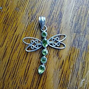 Jewelry - Sterling Silver Peridot Dragonfly Pendant